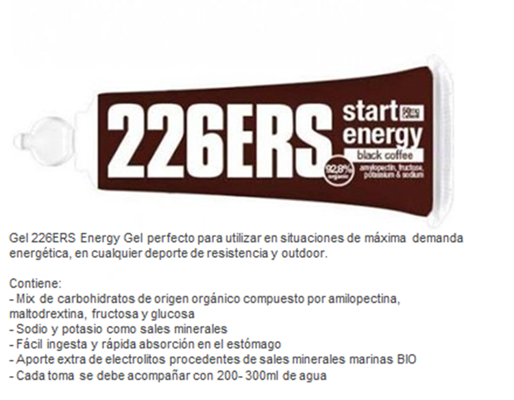 226ERS ENERGY GEL BIO 25GR BLACK COFFEE CAFFEINE 50MG