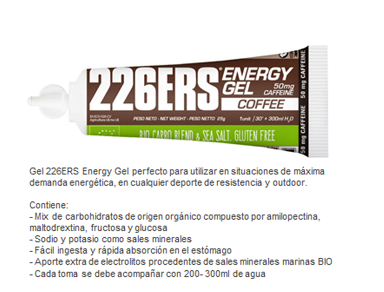 226ERS ENERGY GEL BIO 25GR COLA CAFFEINE 100MG