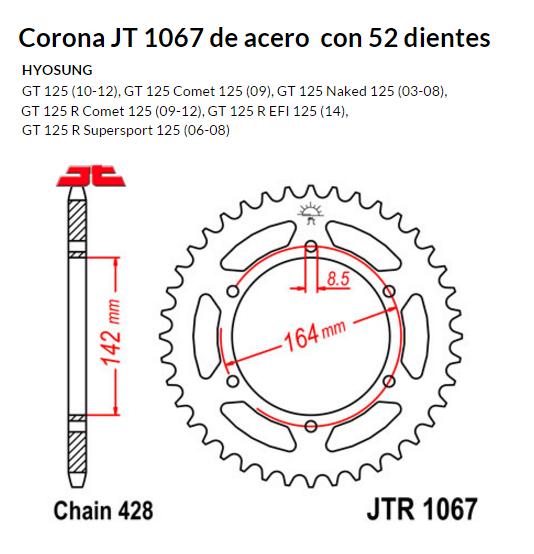 CORONA JT 1067 de acero con 52 dientes