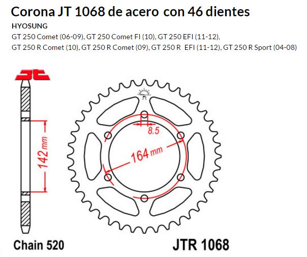 CORONA JT 1068 de acero con 46 dientes
