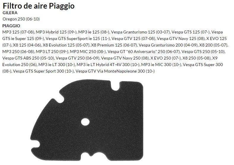 FILTRO AIRE PIAGGIO X8, VESPA....