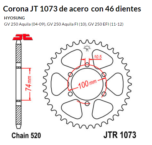 CORONA JT 1073 de acero con 46 dientes