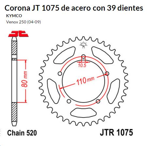 CORONA JT 1075 de acero con 39 dientes