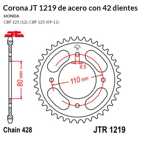CORONA JT 1219 de acero con 42 dientes