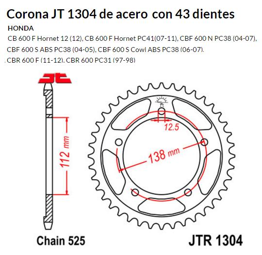CORONA JT 1304 de acero con 47 dientes