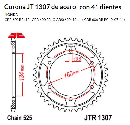 CORONA JT 1307 de acero con 41 dientes