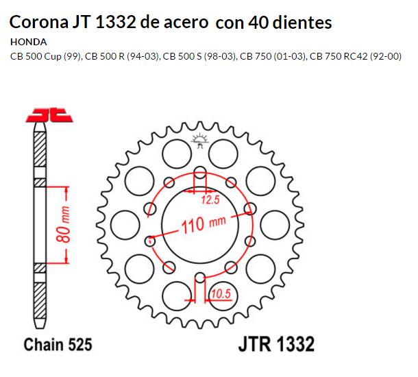 CORONA JT 1332 de acero con 40 dientes