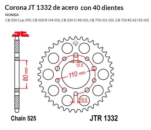 CORONA JT 1332 de acero con 44 dientes