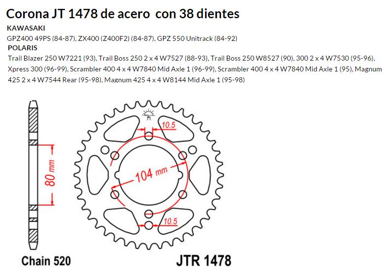 CORONA JT 1478 de acero con 38 dientes