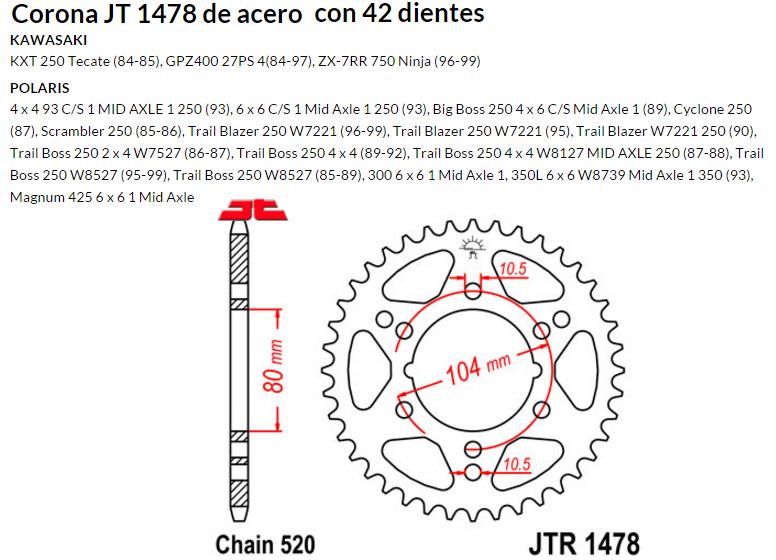 CORONA JT 1478 de acero con 42 dientes