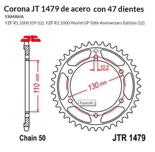 CORONA JT 1479 de acero con 47 dientes