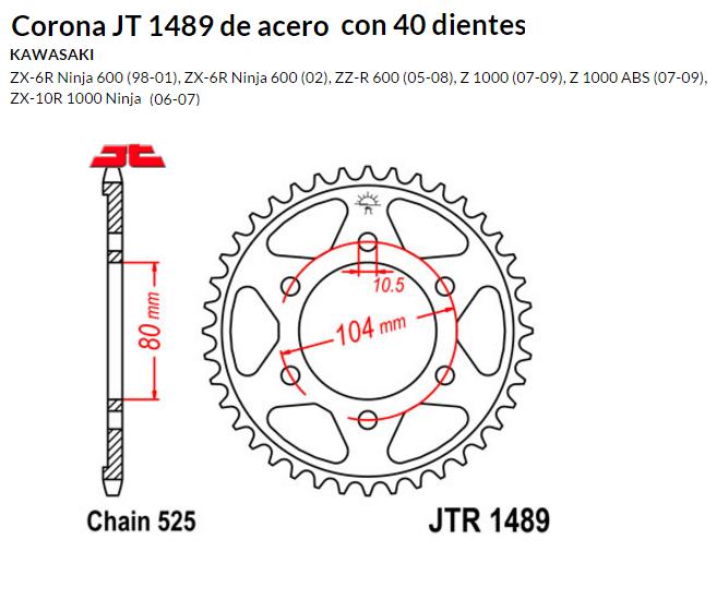 CORONA JT 1489 de acero con 40 dientes
