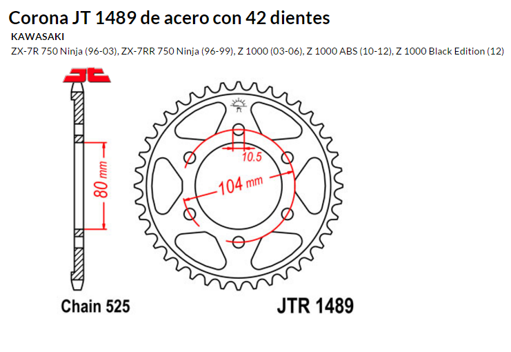 CORONA JT 1489 de acero con 42 dientes
