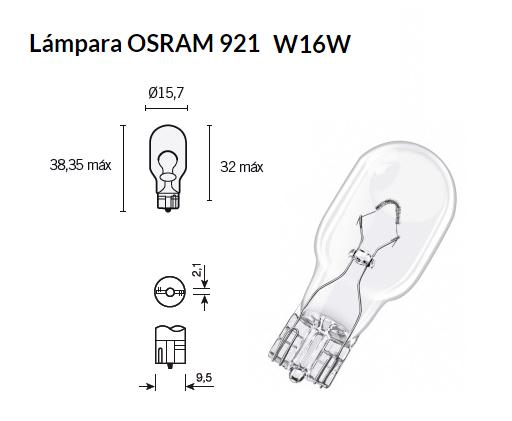 LAMPARA 12V 16W SIN CASQUILLO OSRAM