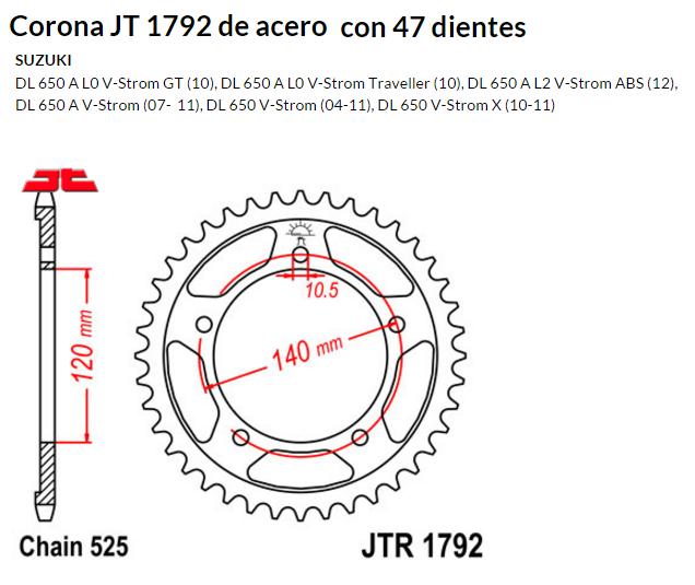 CORONA JT 1792 de acero con 47 dientes