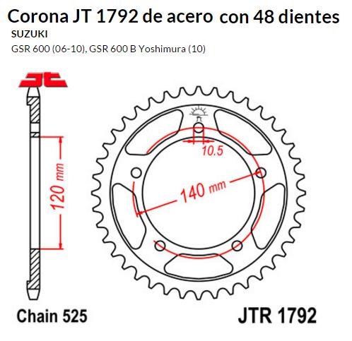 CORONA JT 1792 de acero con 48 dientes