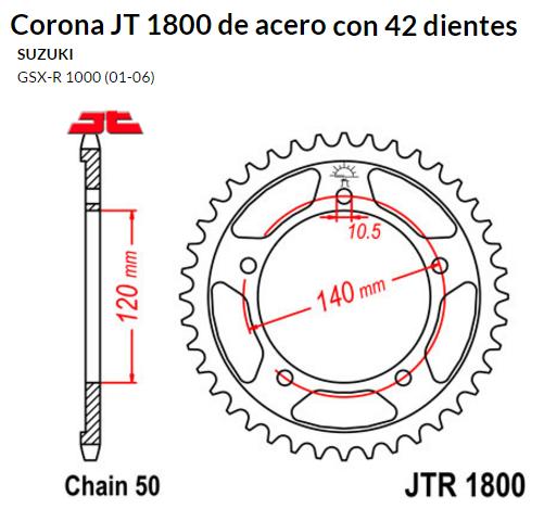 CORONA JT 1800 de acero con 42 dientes
