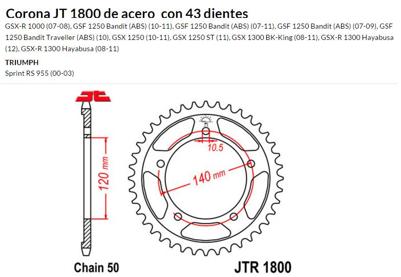 CORONA JT 1800 SUN 5500 43 dientes