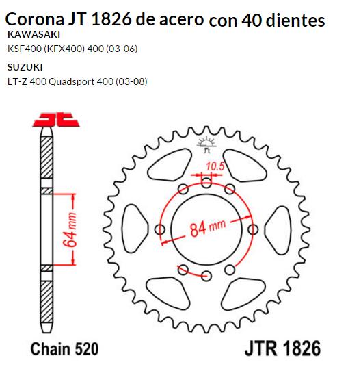 CORONA JT 1826 de acero con 40 dientes