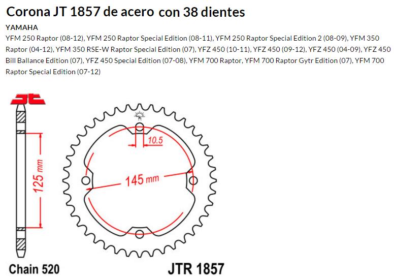 CORONA JT 1857 de acero con 38 dientes