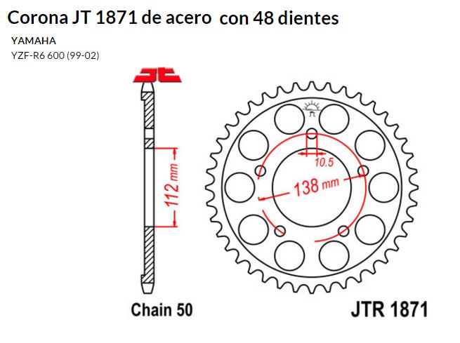 CORONA JT 1871 de acero con 48 dientes