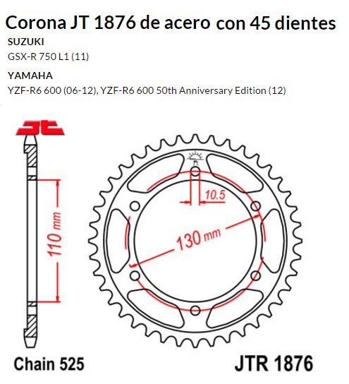 CORONA JT 1876 SUN 4474 45 dientes
