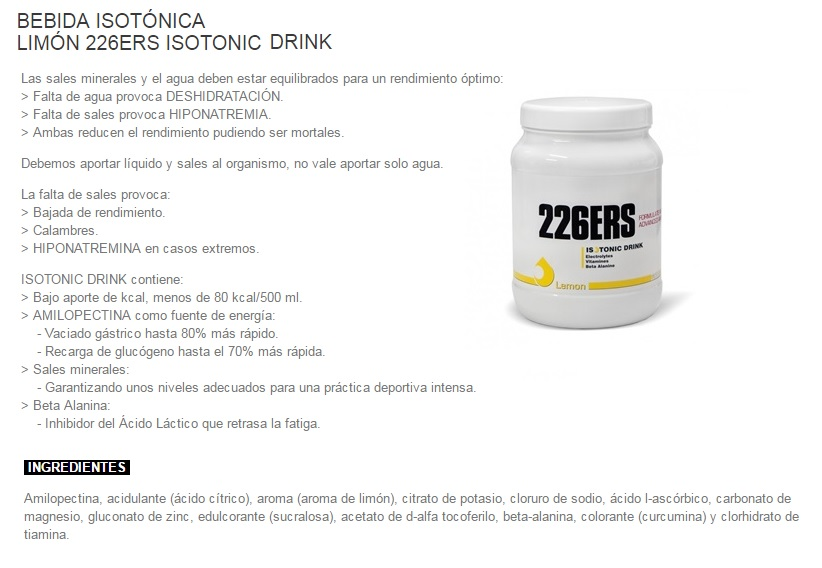 226ERS ISOTONIC DRINK LEMON 500GR