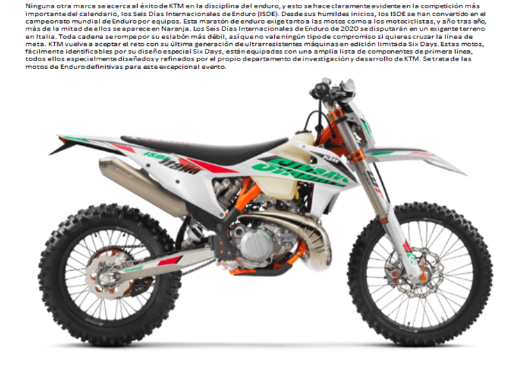 MOTO KTM 250 EXC SIX DAYS TPI 20