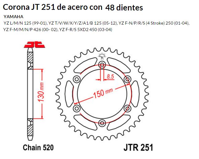 CORONA JT 251 de acero con 48 dientes