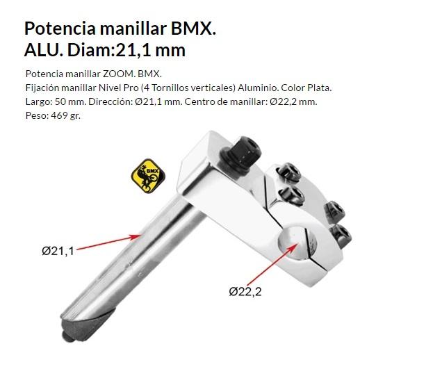 POTENCIA MANILLAR BMX ALUMINIO 21,1