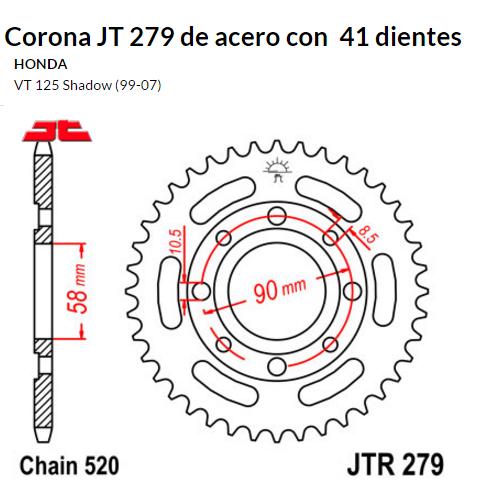 CORONA JT 279 de acero con 41 dientes