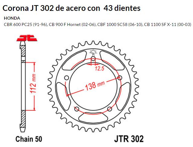 CORONA JT 302 SUN 5485 43 dientes
