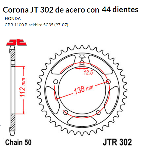CORONA JT 302 SUN 5485 44 dientes