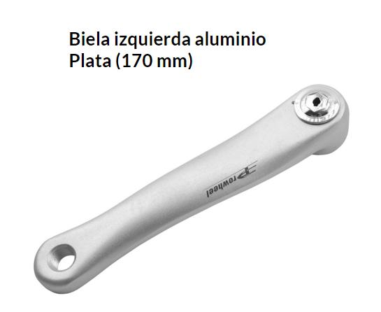 BIELA BICICLETA IZQUIERDA 170 MM. EJE CUADRADO PLATA SUNTOUR (340PL)
