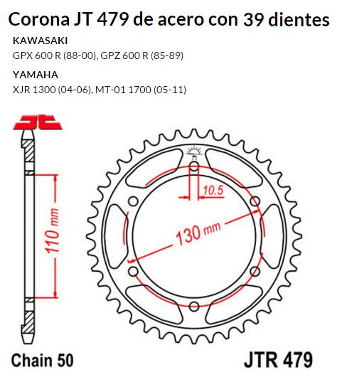 CORONA JT 479 de acero con 39 dientes
