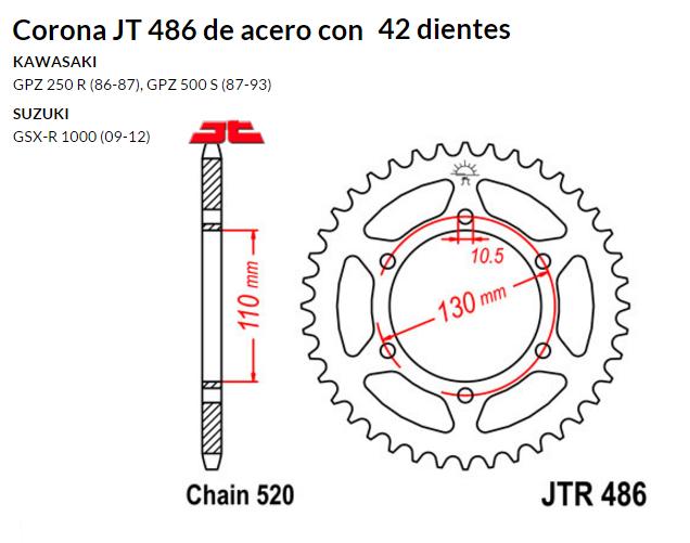 CORONA JT 486 de acero con 42 dientes