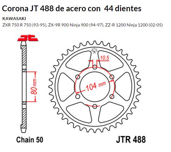 CORONA JT 488 de acero con 44 dientes