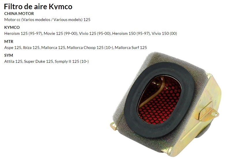 FILTRO AIRE KYMCO MOVIE-HEROSIN 125-