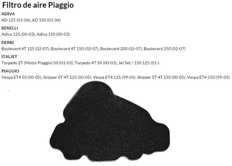 FILTRO AIRE PIAGGIO SKIPPER 4T
