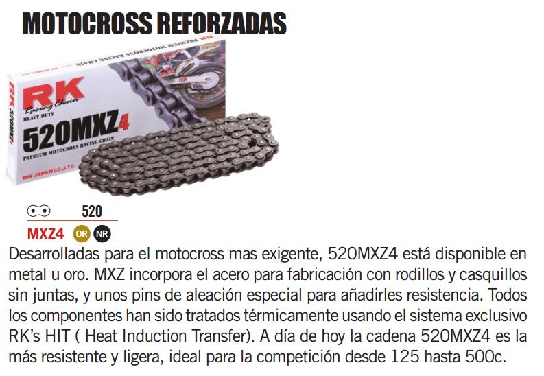 CADENA MOTO RK 520 MX Z4 120