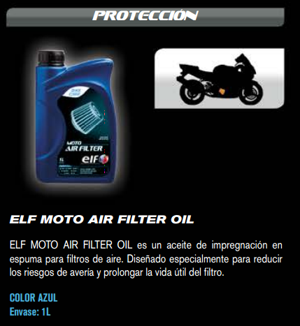 ACEITE ELF AIR FILTER OIL 1L.