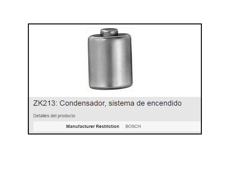 CONDENSADOR BERU ZK213