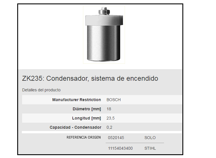 CONDENSADOR BERU ZK235