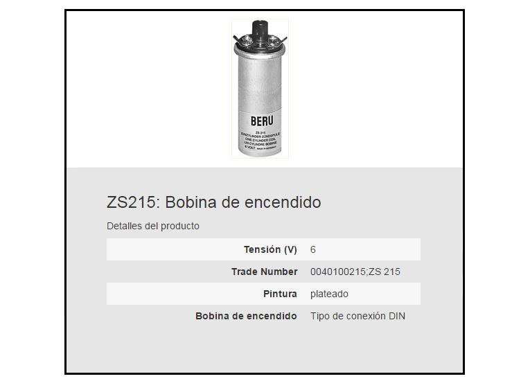 BOBINA BERU ZS215