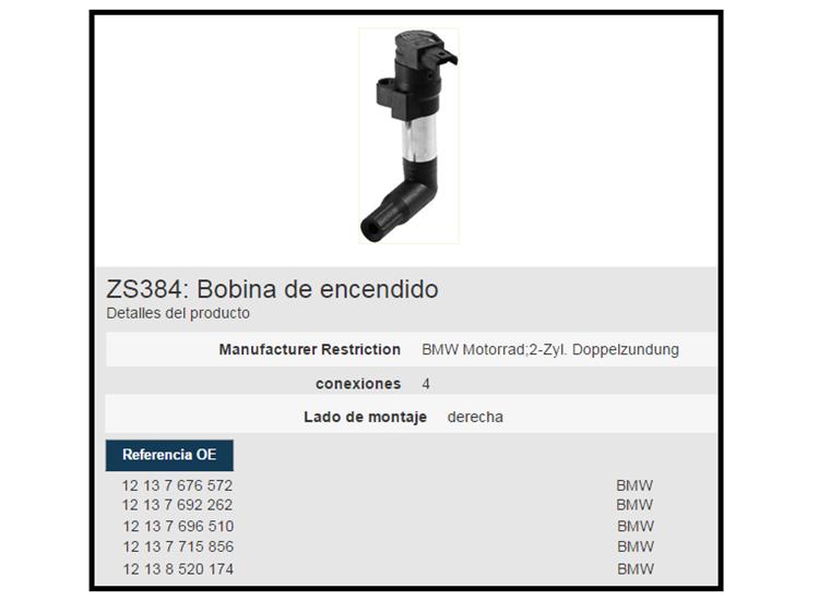 BOBINA BERU ZS384