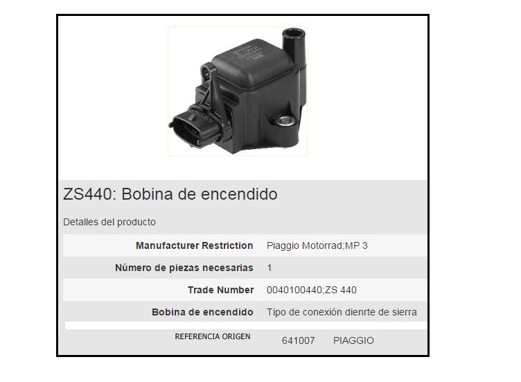 BOBINA BERU ZS440 PIAGGIO MP3 INTEGRADA