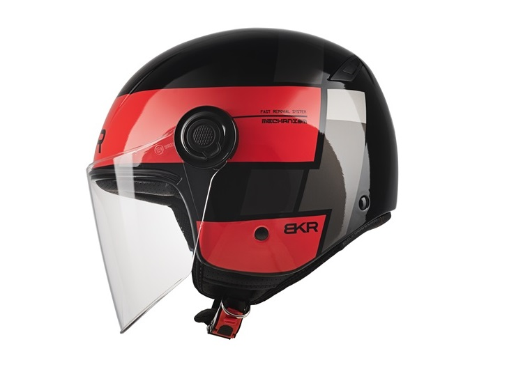 CASCO MOTO BKR JET XPRESSO OF510 B5 ROJO BRILLO XS