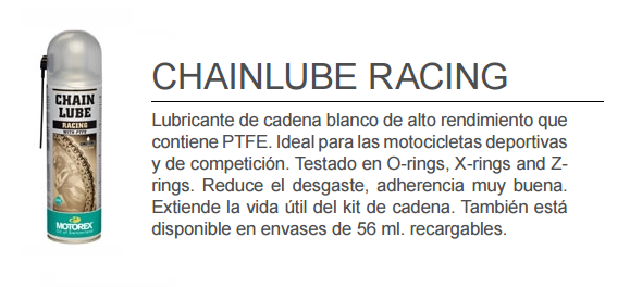 ACEITE MOTOREX CHAIN LUBE RACING SPRAY 500 ML.
