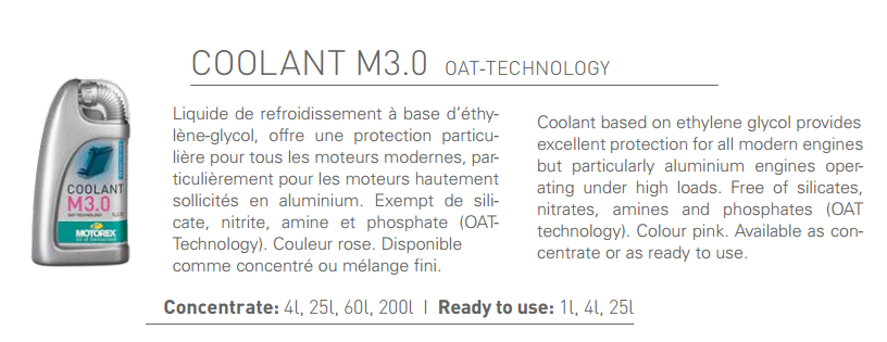 ACEITE MOTOREX COOLANT M3.0 READY TO USE 1L.