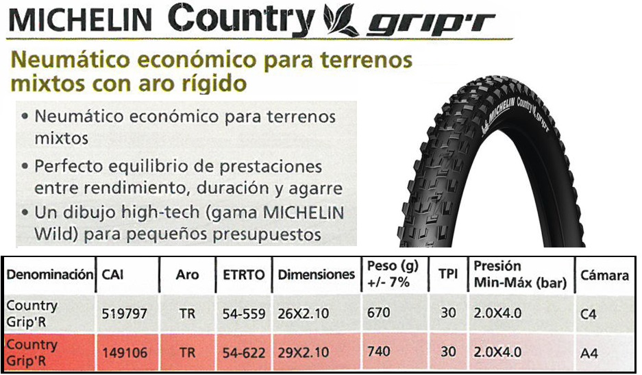 CUBIERTA BICICLETA MICHELIN 26X2.10 COUNTRY GRIPR